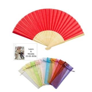 Abanico madera bambú con bolsa y tarjeta