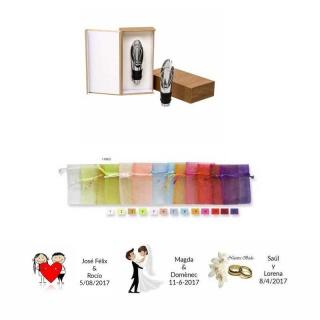 Estuche tapón de vino con bolsa y tarjeta regalos de boda