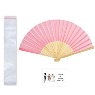 Abanico bambú rosa en bolsa y tarjeta