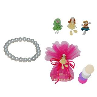 pulsera de perlas blancas + broche muñeca + bolsa tull (8940)