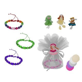 pulsera de nudos + broche muñeca + bolsa tull (8940)