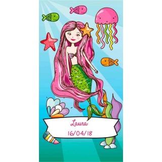 Pegatina para regalo de niñas con sirena