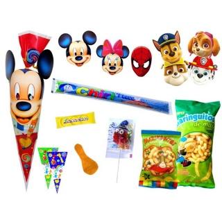 Divertida bolsa con golosinas y caretas de Disney