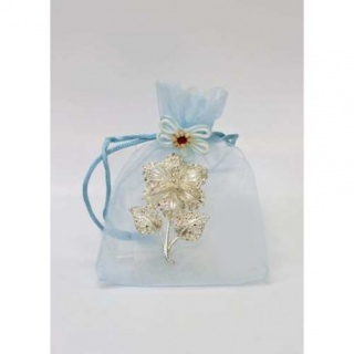 Broches flor en organza azul