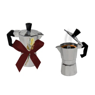 CAFETERA DE METAL 1/2 TAZA + FLOR D. (8501) + LAZO CRUZADO (8578)