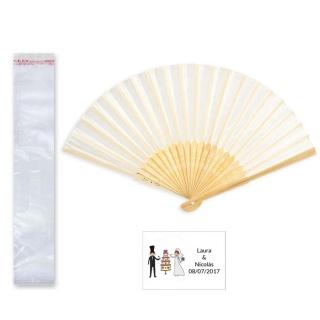 Abanico bambú en bolsa y tarjeta o pegatina
