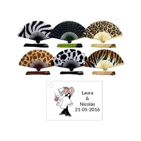 Abanico bambu animales con bolsa y tarjeta