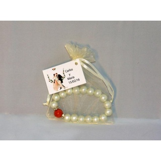 Pulseras de perlas + bolsa + tarjeta