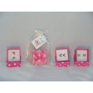 Pendientes con caja en bolsa con tarjeta personalizada
