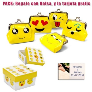 Divertido monedero de emoticono amarillo con hebilla