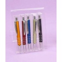 Bolígrafos en 5 colores surtidos en caja de acetato (precio unidad)