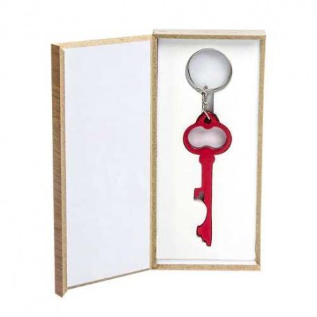 Llavero llave abridor caja madera regalo