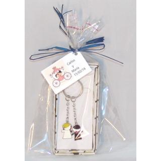 Llavero novios en bolsa + tarjeta regalos boda