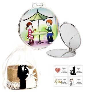 Espejo con sombrilla y niños, con bolsa de yute y tarjeta personalizada