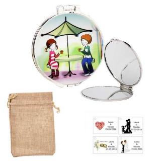 Espejo con sombrilla y niños, con bolsa de saco beige y tarjeta personalizada