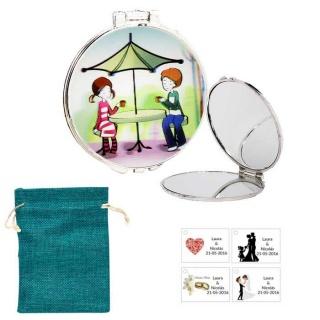 Espejo con sombrilla y niños, con bolsa de saco azul y tarjeta personalizada