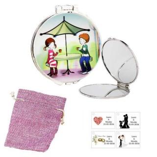 Espejo con sombrilla y niños, con bolsa de saco rosa y tarjeta personalizada