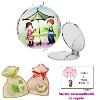 Espejo con sombrilla y niños, con bolsa de saco en crudo y detalles de colores, y tarjeta personalizada