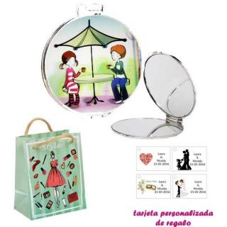 Espejo con sombrilla y niños, con dibujos de mujer, moda y belleza, y tarjeta personalizada