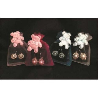 Pendientes (surtido 2 modelos) + Bolsa organza + Deco Oso