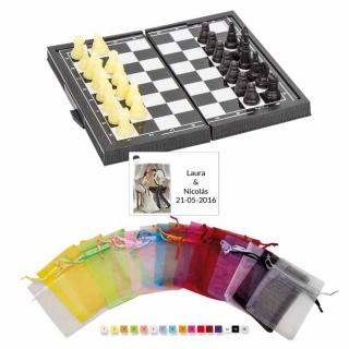 Lote Juego ajedrez en bolsa y tarjeta