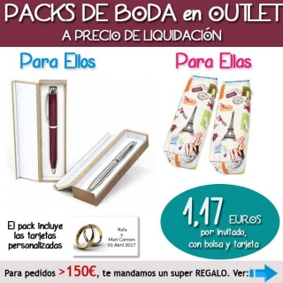 """Pack """"Super-Ahorro"""" de regalos Bodas en Outlet, con bolsas y tarjetas"""