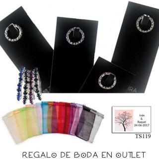 Pack de anillo elástico de metal con cristal de roca, bolsa y tarjeta