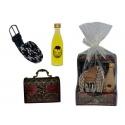 Pack baúl con cinturón y licor para bodas