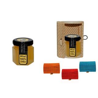 Bote de miel en caja de mimbre para detalles de boda 60gr