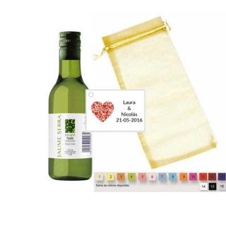 Vino blanco en bolsa con tarjeta