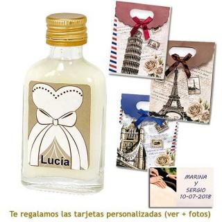 Licor de crema 20 ml con etiqueta de novia y bolsa surtida de ciudades