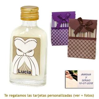 Licor de crema 20 ml con etiqueta de novia y bolsa surtida de rayas y cuadros