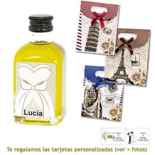Botellita de Aceite de Oliva con etiqueta de novia y bolsa surtida de ciudades