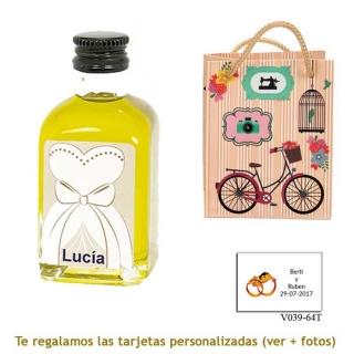Botellita de Aceite de Oliva con etiqueta de novia y bolsa vintage con bicicleta