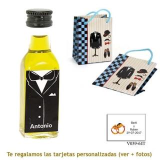 Botellita de Aceite de Oliva con etiqueta de novio y bolsa de charlestón