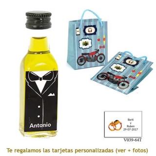 Botellita de Aceite de Oliva con etiqueta de novio y bolsa con moto
