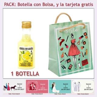 Botellita de Licor de Crema de Limón con bolsa y tarjeta