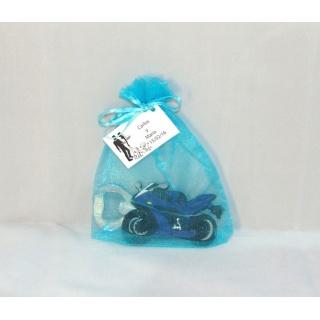 Imán abridor moto en bolsa con tarjeta personalizada