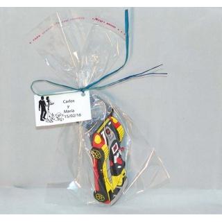 Imán abridor coche en bolsa con tarjeta personalizada