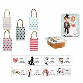 dulce membrillo 125gr boda con bolsas originales y tarjeta