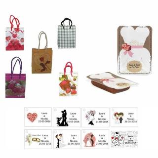 dulce membrillo 50gr detalles novia con bolsa de saco y tarjeta
