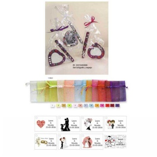 Espejo y boli con bolsa y tarjeta regalos de boda