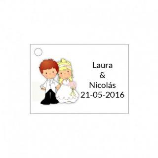 Tarjetita de boda original dibujo de novios