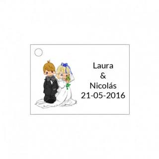 Tarjetita de boda original de novios casandose