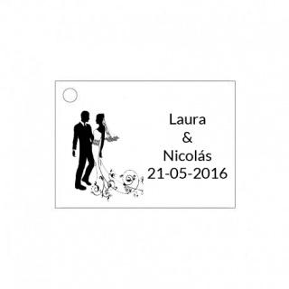 Tarjetita de boda original con novios
