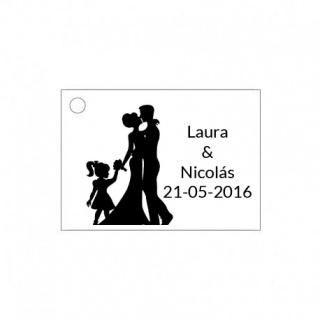 Tarjetita de boda silueta de novios