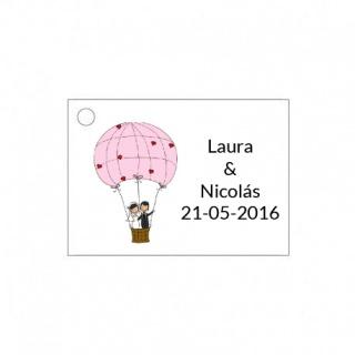 Tarjetita novios en globo para detalles de boda