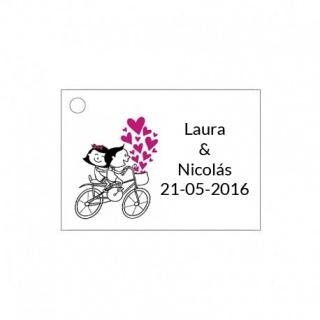tarjeta de boda con novios en bici para detalles de boda