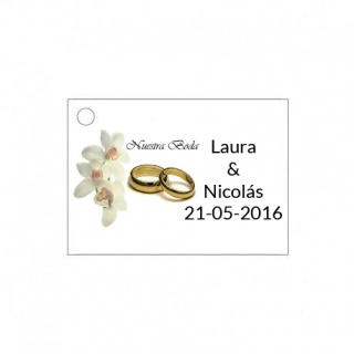 tarjeta de boda con alianzas para detalles de boda