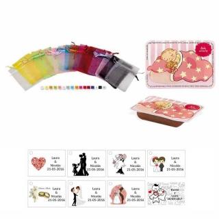 dulce membrillo 50gr detalles bebé con bolsa organza y tarjeta